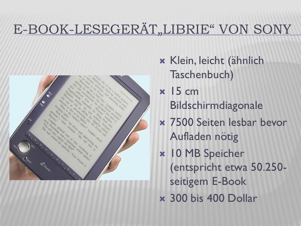 """E-BOOK-LESEGERÄT""""LIBRIE VON SONY  Klein, leicht (ähnlich Taschenbuch)  15 cm Bildschirmdiagonale  7500 Seiten lesbar bevor Aufladen nötig  10 MB Speicher (entspricht etwa 50.250- seitigem E-Book  300 bis 400 Dollar"""
