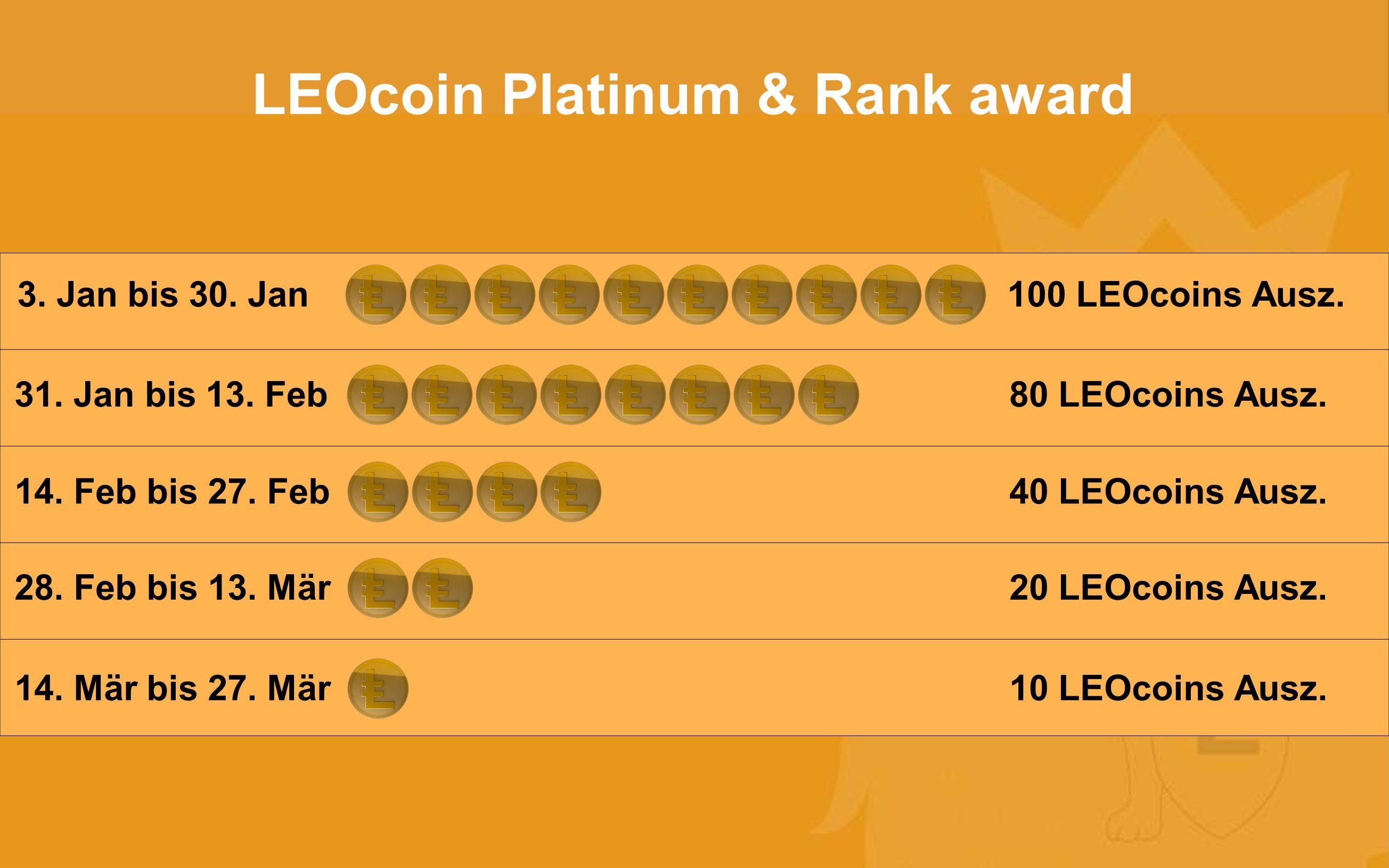 3.Jan to 30. Jan: 100 LEOcoins Auszeichnung 31. Jan to 13.
