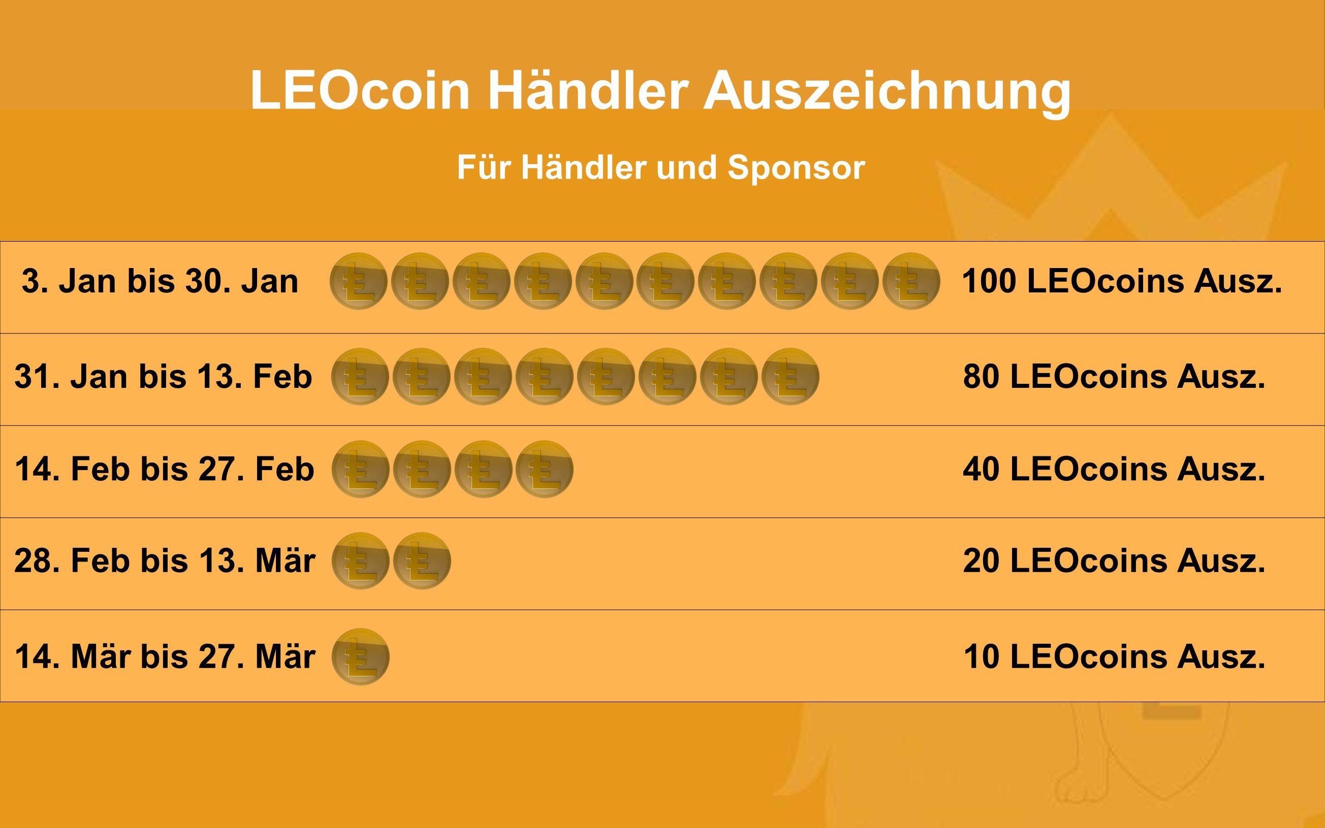 LEOcoin Händler Auszeichnung Für Händler und Sponsor 3. Jan bis 30. Jan100 LEOcoins Ausz. 31. Jan bis 13. Feb80 LEOcoins Ausz. 14. Feb bis 27. Feb40 L