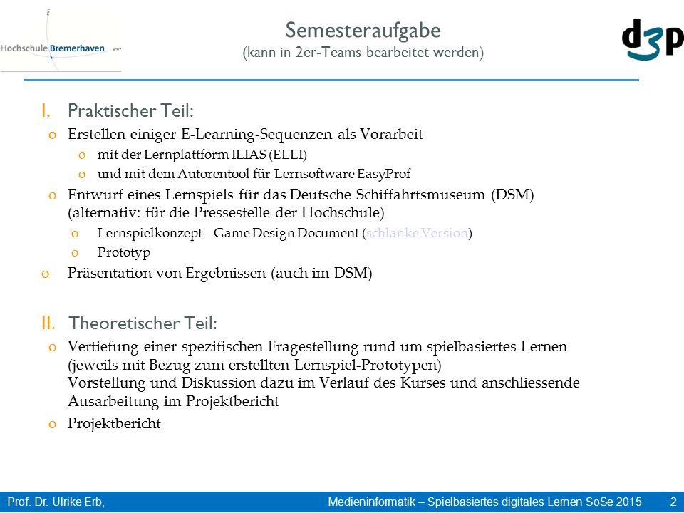 Prof. Dr. Ulrike Erb, Medieninformatik – Spielbasiertes digitales Lernen SoSe 2015 2 Semesteraufgabe (kann in 2er-Teams bearbeitet werden) I.Praktisch