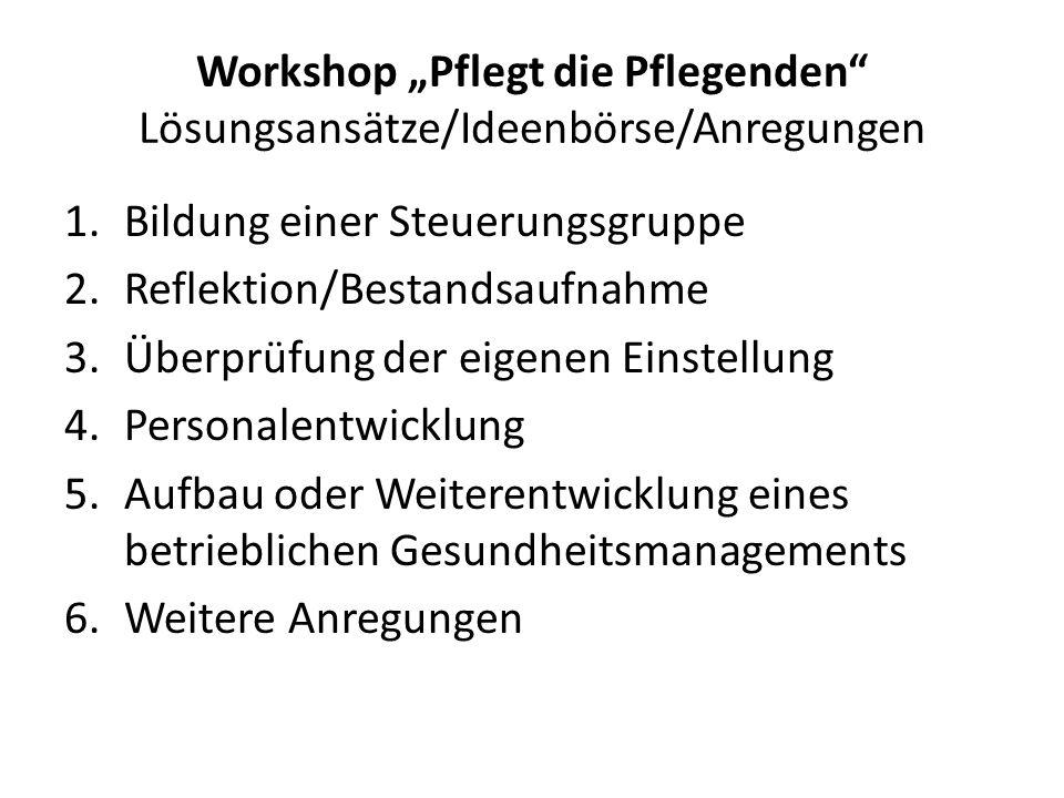 """Workshop """"Pflegt die Pflegenden Lösungsansätze/ Ideenbörse/ Anregungen Reflektion 1.Risikomanagement unter Einsatz der bestehenden Gefährdungsbeurteilung 2.Selbstbewertung auf www.gesund-pflegen-online.dewww.gesund-pflegen-online.de 3.Arbeitskreis Gesundheit in Zusammenarbeit mit einer Krankenkasse 4.Durchführung einer Altersstrukturanalyse 5.Democheck Pflege 6.Arbeitsplatzsituationsanalyse der BG 7.Weitere Anregungen"""