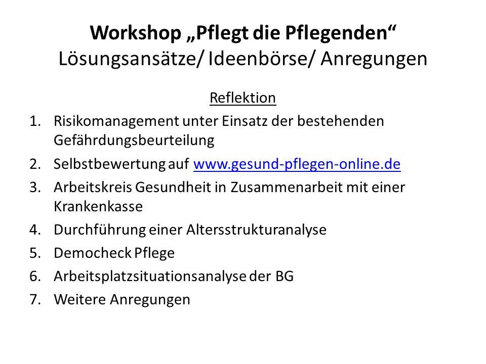 """Workshop """"Pflegt die Pflegenden Lösungsansätze/ Ideen/ Anregungen Einstellungsänderung 1.Entwicklung vom Defizit- hin zum Kompetenzmodell 2.Wahrnehmung erfahrener Pflegekräfte als Schatz für besondere Aufgaben"""