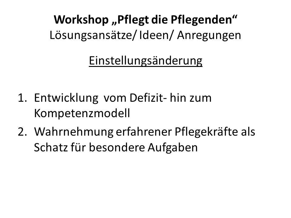 """Workshop """"Pflegt die Pflegenden"""" Lösungsansätze/ Ideen/ Anregungen Einstellungsänderung 1.Entwicklung vom Defizit- hin zum Kompetenzmodell 2.Wahrnehmu"""