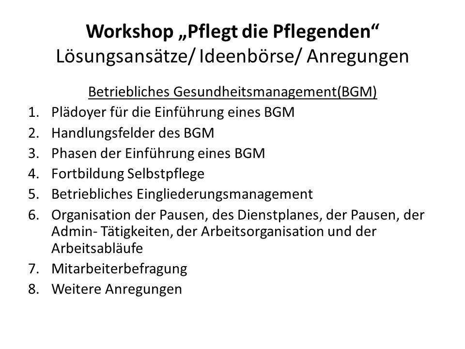"""Workshop """"Pflegt die Pflegenden"""" Lösungsansätze/ Ideenbörse/ Anregungen Betriebliches Gesundheitsmanagement(BGM) 1.Plädoyer für die Einführung eines B"""