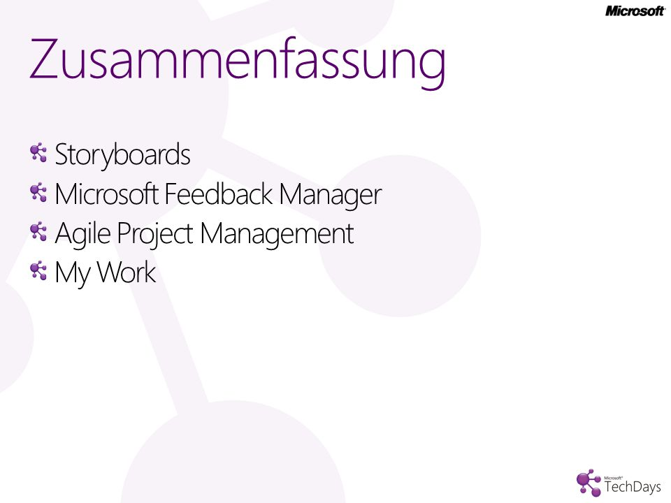 Zusammenfassung Storyboards Microsoft Feedback Manager Agile Project Management My Work