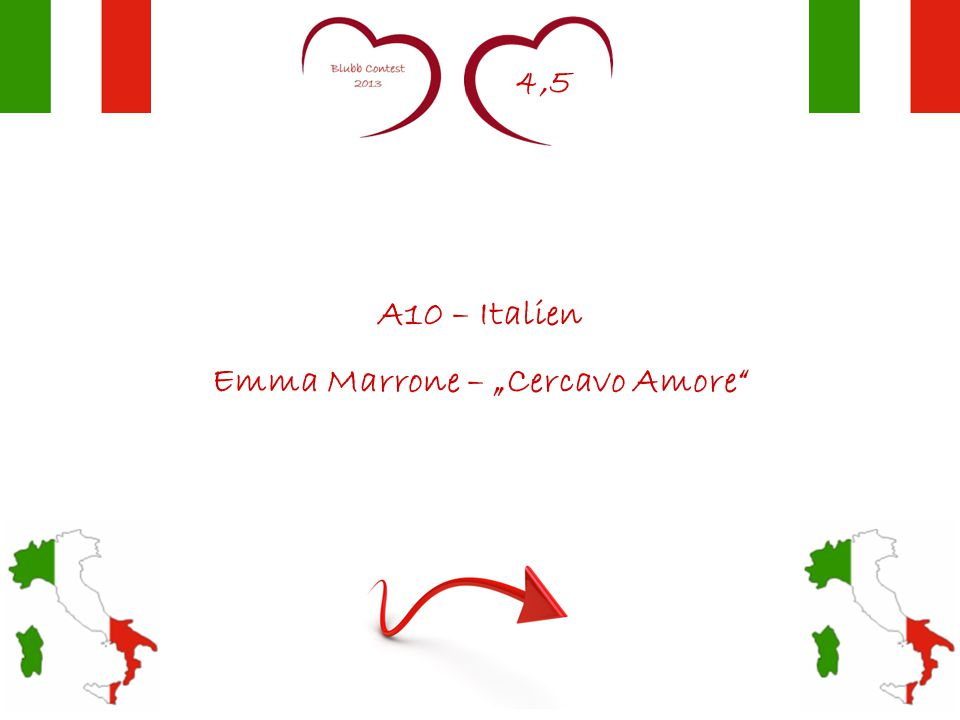 """4,5 A10 – Italien Emma Marrone – """"Cercavo Amore"""