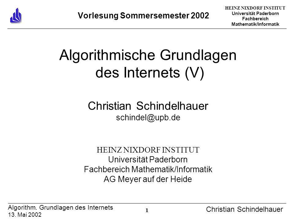 HEINZ NIXDORF INSTITUT Universität Paderborn Fachbereich Mathematik/Informatik 1 Algorithm. Grundlagen des Internets 13. Mai 2002 Christian Schindelha