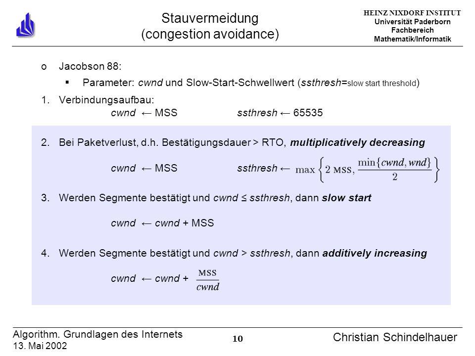 HEINZ NIXDORF INSTITUT Universität Paderborn Fachbereich Mathematik/Informatik 10 Algorithm. Grundlagen des Internets 13. Mai 2002 Christian Schindelh