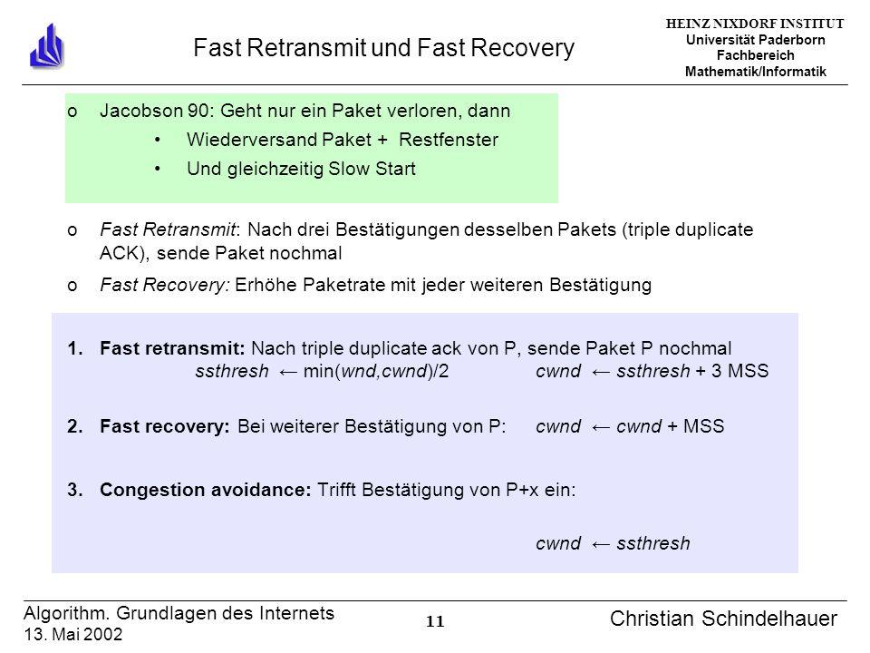 HEINZ NIXDORF INSTITUT Universität Paderborn Fachbereich Mathematik/Informatik 11 Algorithm. Grundlagen des Internets 13. Mai 2002 Christian Schindelh