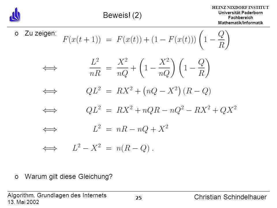 HEINZ NIXDORF INSTITUT Universität Paderborn Fachbereich Mathematik/Informatik 25 Algorithm. Grundlagen des Internets 13. Mai 2002 Christian Schindelh