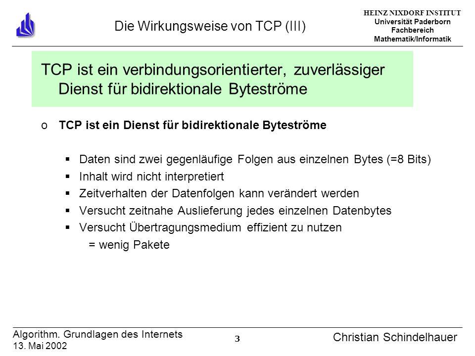 HEINZ NIXDORF INSTITUT Universität Paderborn Fachbereich Mathematik/Informatik 3 Algorithm. Grundlagen des Internets 13. Mai 2002 Christian Schindelha