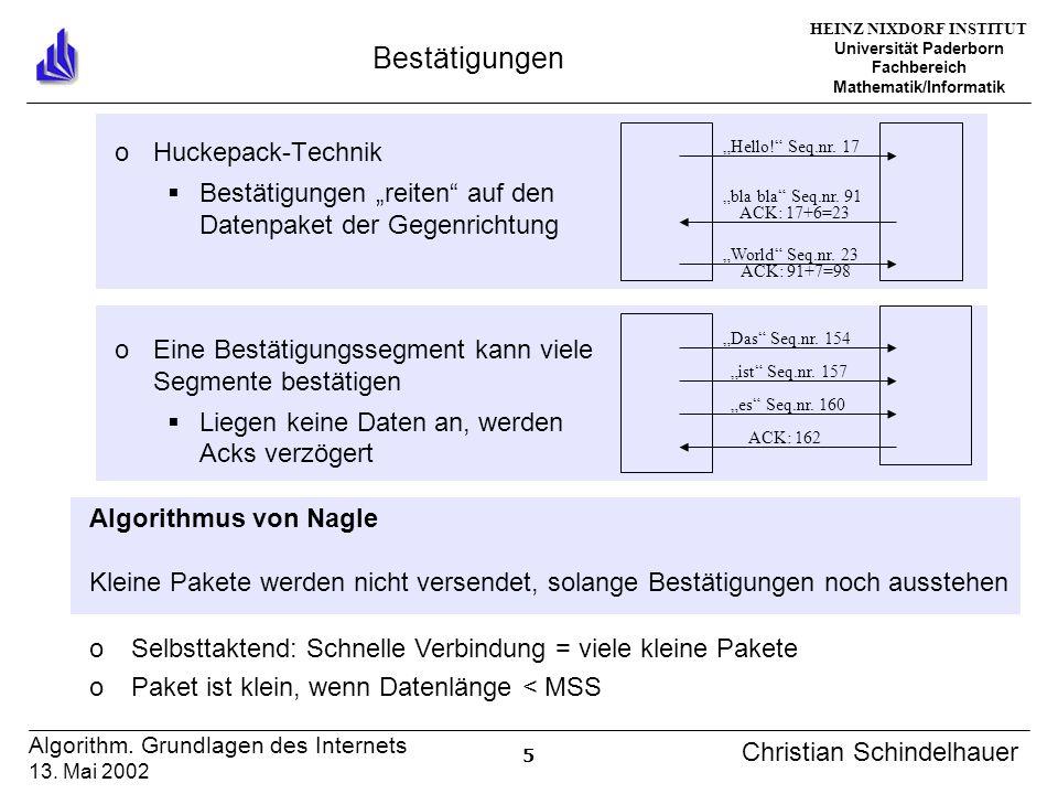 HEINZ NIXDORF INSTITUT Universität Paderborn Fachbereich Mathematik/Informatik 5 Algorithm. Grundlagen des Internets 13. Mai 2002 Christian Schindelha