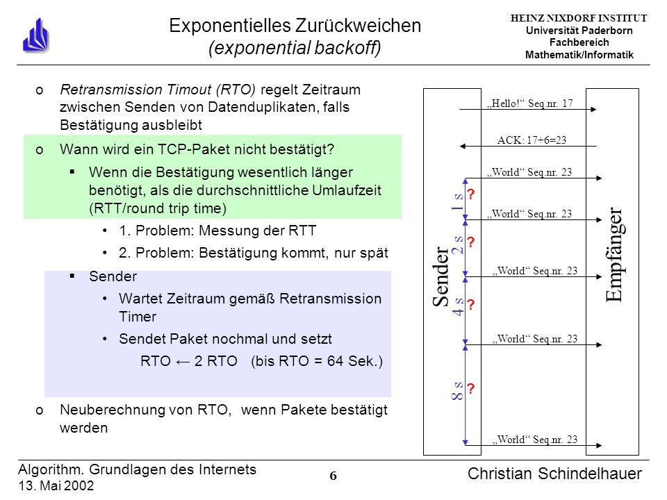 HEINZ NIXDORF INSTITUT Universität Paderborn Fachbereich Mathematik/Informatik 6 Algorithm. Grundlagen des Internets 13. Mai 2002 Christian Schindelha