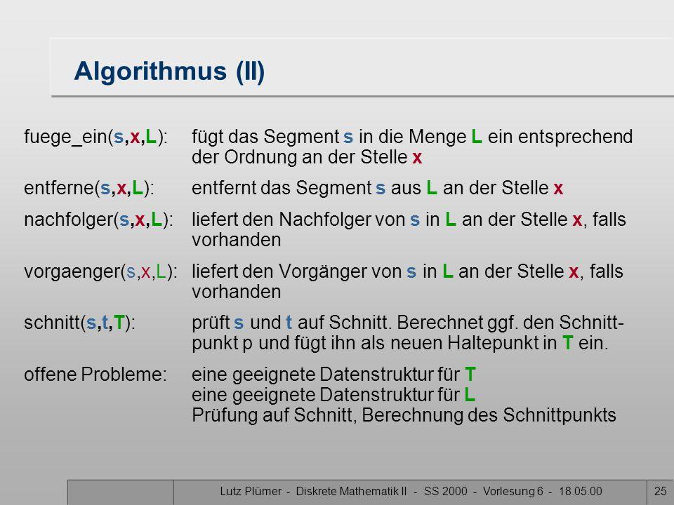 Lutz Plümer - Diskrete Mathematik II - SS 2000 - Vorlesung 6 - 18.05.0025 Algorithmus (II) fuege_ein(s,x,L): fügt das Segment s in die Menge L ein entsprechend der Ordnung an der Stelle x entferne(s,x,L): entfernt das Segment s aus L an der Stelle x nachfolger(s,x,L):liefert den Nachfolger von s in L an der Stelle x, falls vorhanden vorgaenger(s,x,L): liefert den Vorgänger von s in L an der Stelle x, falls vorhanden schnitt(s,t,T):prüft s und t auf Schnitt.