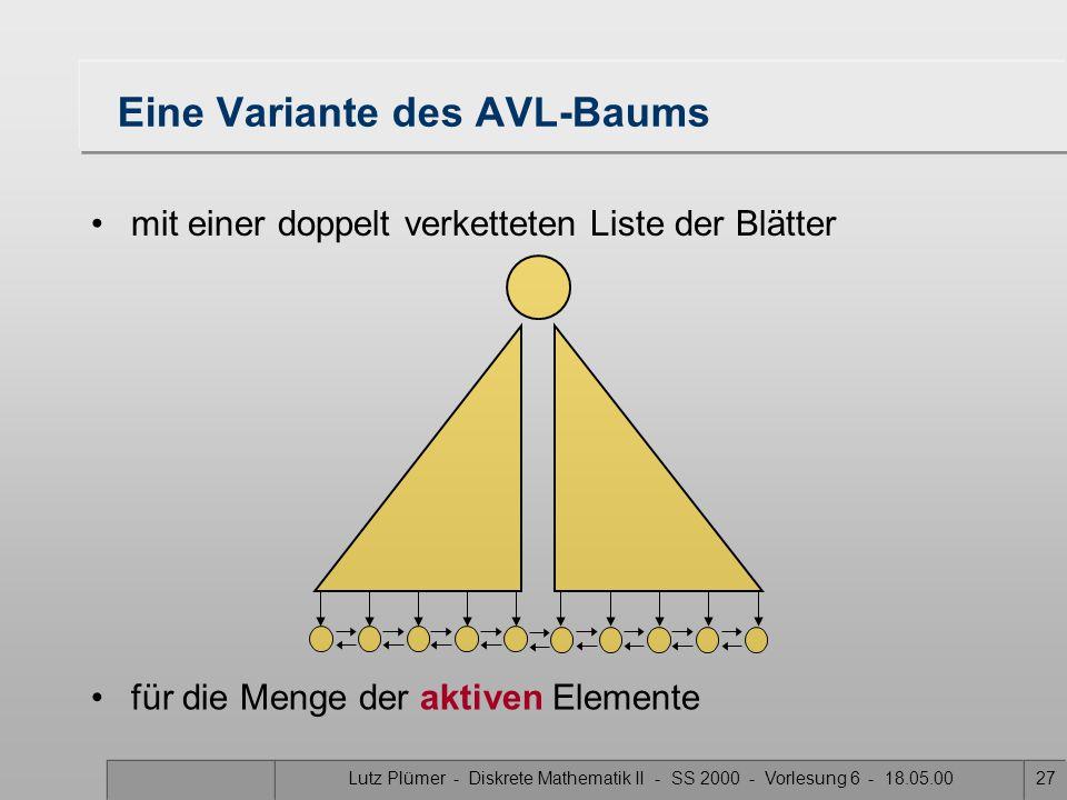 Lutz Plümer - Diskrete Mathematik II - SS 2000 - Vorlesung 6 - 18.05.0027 Eine Variante des AVL-Baums mit einer doppelt verketteten Liste der Blätter für die Menge der aktiven Elemente