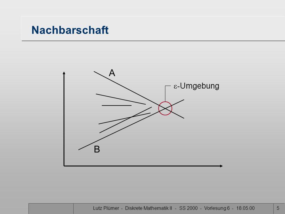 Lutz Plümer - Diskrete Mathematik II - SS 2000 - Vorlesung 6 - 18.05.005 Nachbarschaft  - Umgebung A B