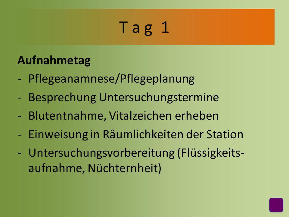 Diagnostik -Untersuchungsvorbereitung (Aufklärungs- bögen, venöse Zugänge, etc.) -Begleitung zu Untersuchungen T a g 2
