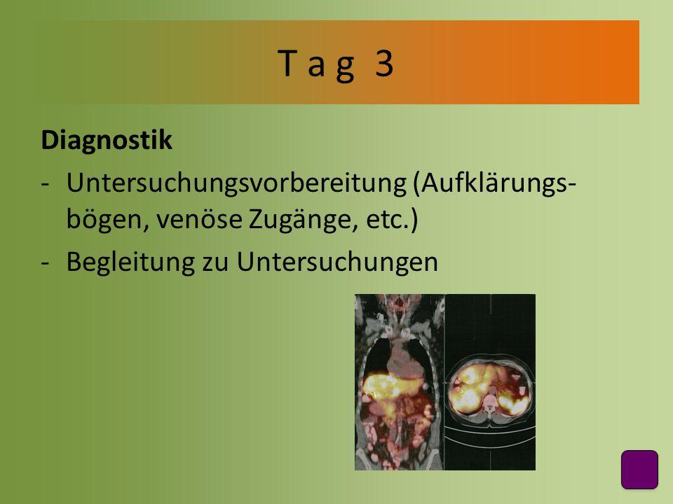 Diagnostik -Untersuchungsvorbereitung (Aufklärungs- bögen, venöse Zugänge, etc.) -Begleitung zu Untersuchungen T a g 3