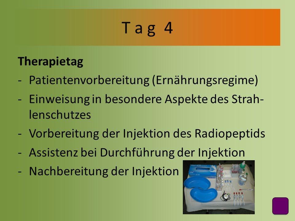 Therapietag -Patientenvorbereitung (Ernährungsregime) -Einweisung in besondere Aspekte des Strah- lenschutzes -Vorbereitung der Injektion des Radiopep