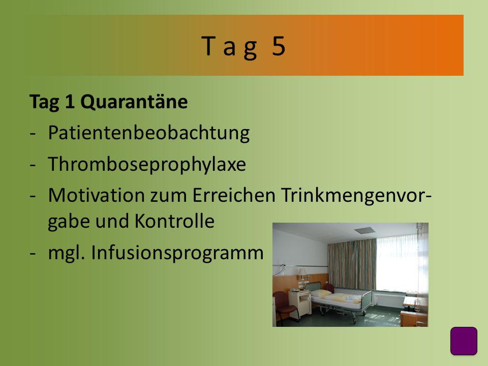 Tag 1 Quarantäne -Patientenbeobachtung -Thromboseprophylaxe -Motivation zum Erreichen Trinkmengenvor- gabe und Kontrolle -mgl. Infusionsprogramm T a g