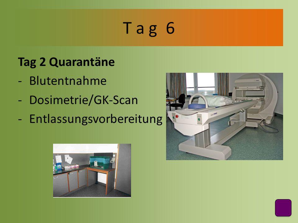 Tag 2 Quarantäne -Blutentnahme -Dosimetrie/GK-Scan -Entlassungsvorbereitung T a g 6