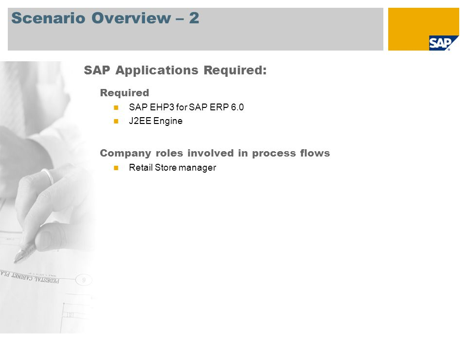Scenario Overview – 2 Required SAP EHP3 for SAP ERP 6.0 J2EE Engine Company roles involved in process flows Retail Store manager SAP Applications Requ
