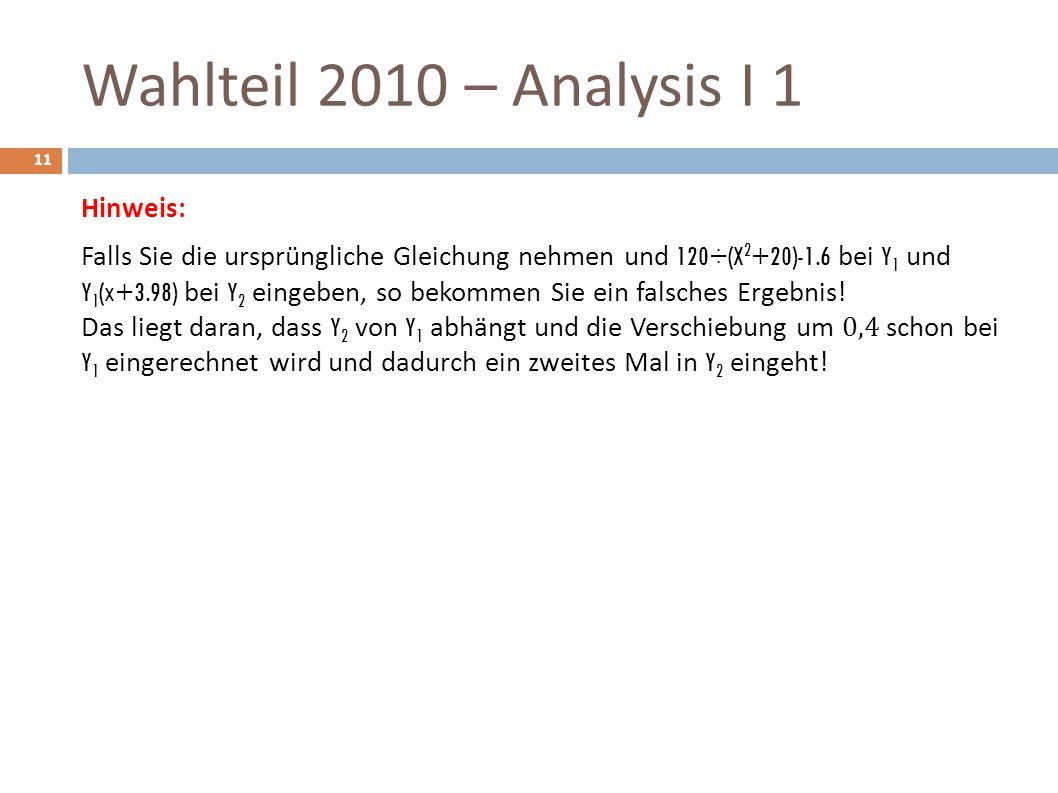 Wahlteil 2010 – Analysis I 1 11