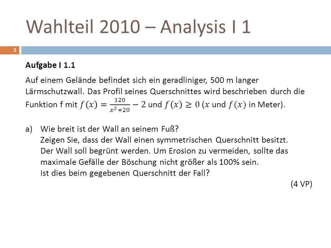 Wahlteil 2010 – Analysis I 1 2