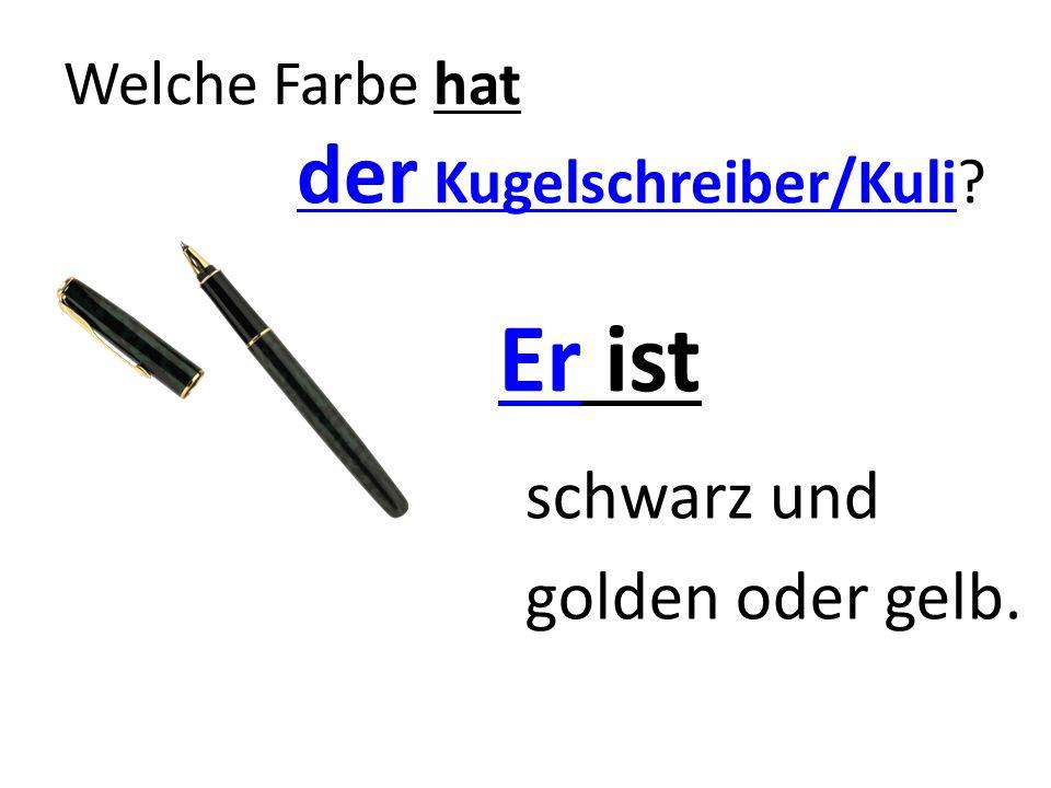 Welche Farbe hat der Kugelschreiber/Kuli? Er ist schwarz und golden oder gelb.