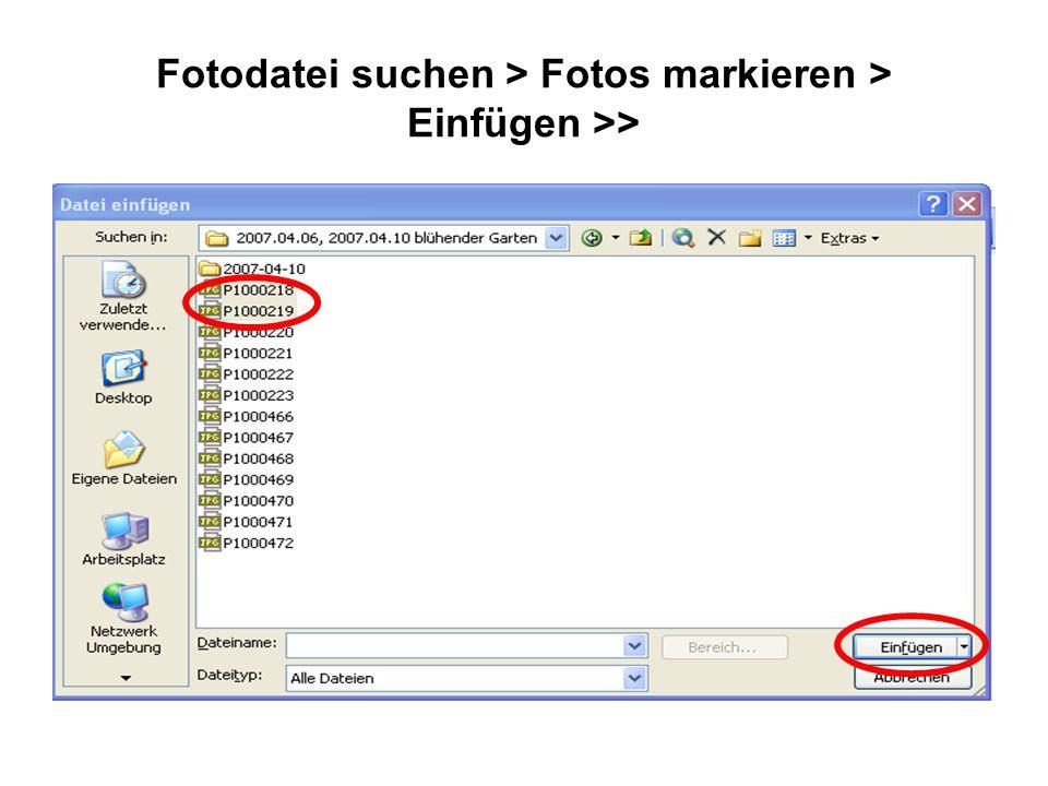 Fotodatei suchen > Fotos markieren > Einfügen >>