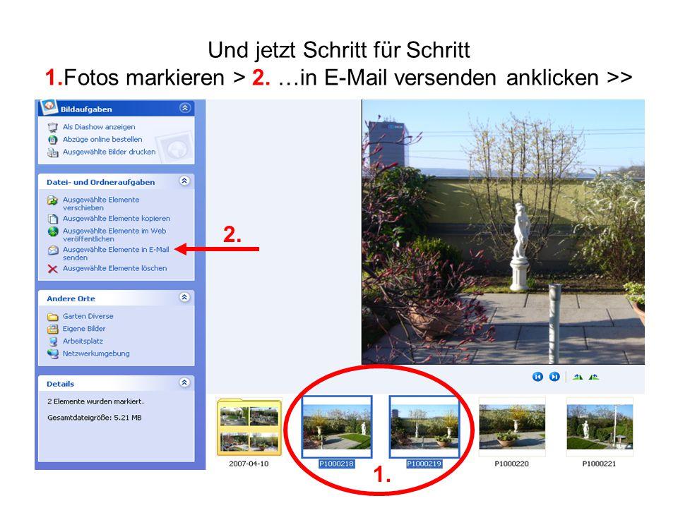 Und jetzt Schritt für Schritt 1.Fotos markieren > 2. …in E-Mail versenden anklicken >> 1. 2.