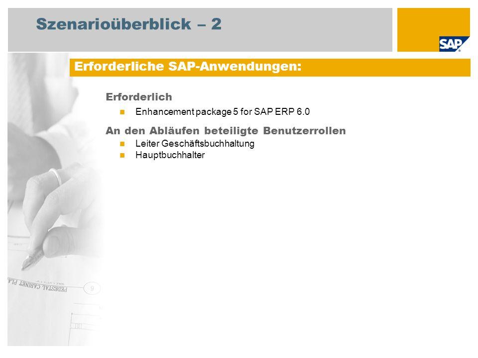 Szenarioüberblick – 2 Erforderlich Enhancement package 5 for SAP ERP 6.0 An den Abläufen beteiligte Benutzerrollen Leiter Geschäftsbuchhaltung Hauptbuchhalter Erforderliche SAP-Anwendungen:
