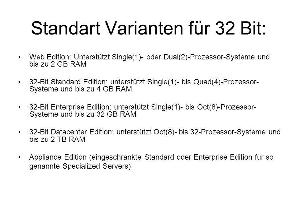 Standart Varianten für 32 Bit: Web Edition: Unterstützt Single(1)- oder Dual(2)-Prozessor-Systeme und bis zu 2 GB RAM 32-Bit Standard Edition: unterstützt Single(1)- bis Quad(4)-Prozessor- Systeme und bis zu 4 GB RAM 32-Bit Enterprise Edition: unterstützt Single(1)- bis Oct(8)-Prozessor- Systeme und bis zu 32 GB RAM 32-Bit Datacenter Edition: unterstützt Oct(8)- bis 32-Prozessor-Systeme und bis zu 2 TB RAM Appliance Edition (eingeschränkte Standard oder Enterprise Edition für so genannte Specialized Servers)