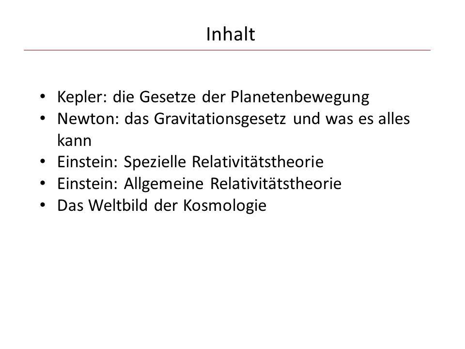 Inhalt Kepler: die Gesetze der Planetenbewegung Newton: das Gravitationsgesetz und was es alles kann Einstein: Spezielle Relativitätstheorie Einstein: