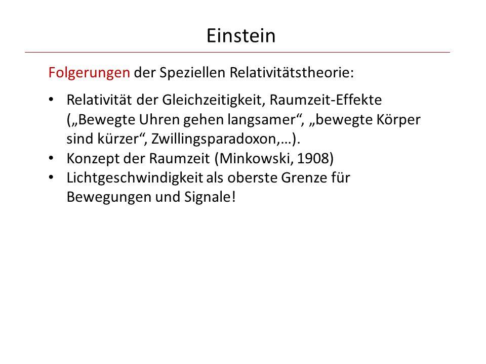 """Einstein Folgerungen der Speziellen Relativitätstheorie: Relativität der Gleichzeitigkeit, Raumzeit-Effekte (""""Bewegte Uhren gehen langsamer"""", """"bewegte"""