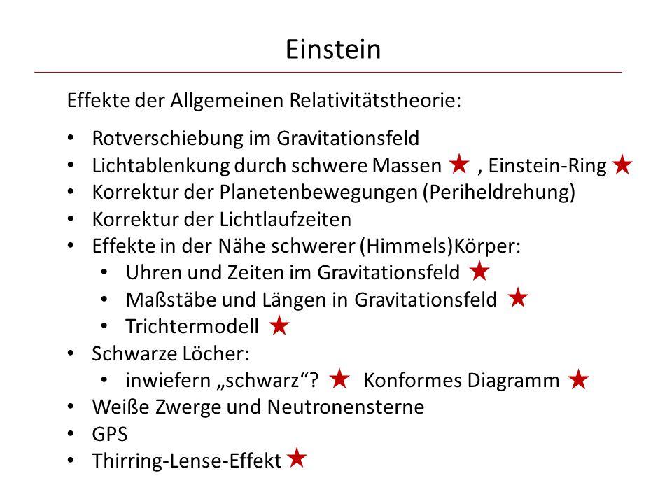 Effekte der Allgemeinen Relativitätstheorie: Rotverschiebung im Gravitationsfeld Lichtablenkung durch schwere Massen, Einstein-Ring Korrektur der Plan