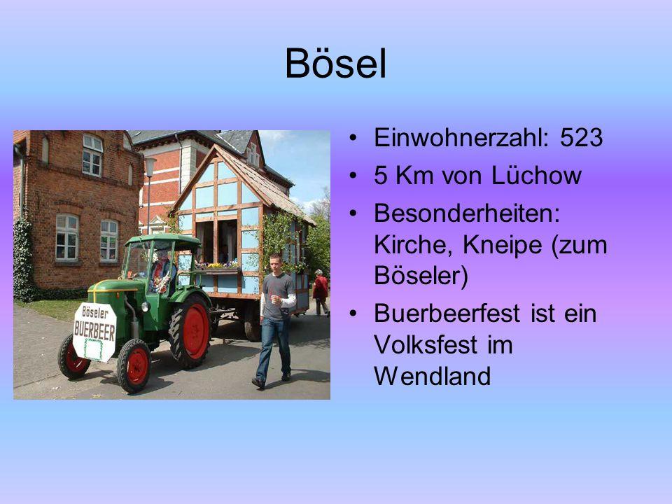 Bösel Einwohnerzahl: 523 5 Km von Lüchow Besonderheiten: Kirche, Kneipe (zum Böseler) Buerbeerfest ist ein Volksfest im Wendland