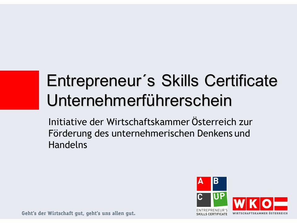 Initiative der Wirtschaftskammer Österreich zur Förderung des unternehmerischen Denkens und Handelns Entrepreneur´s Skills Certificate Unternehmerführerschein