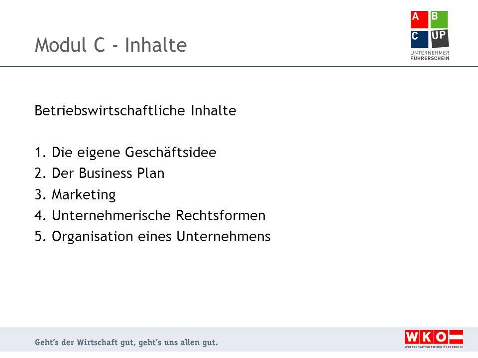 Modul C - Inhalte Betriebswirtschaftliche Inhalte 1.