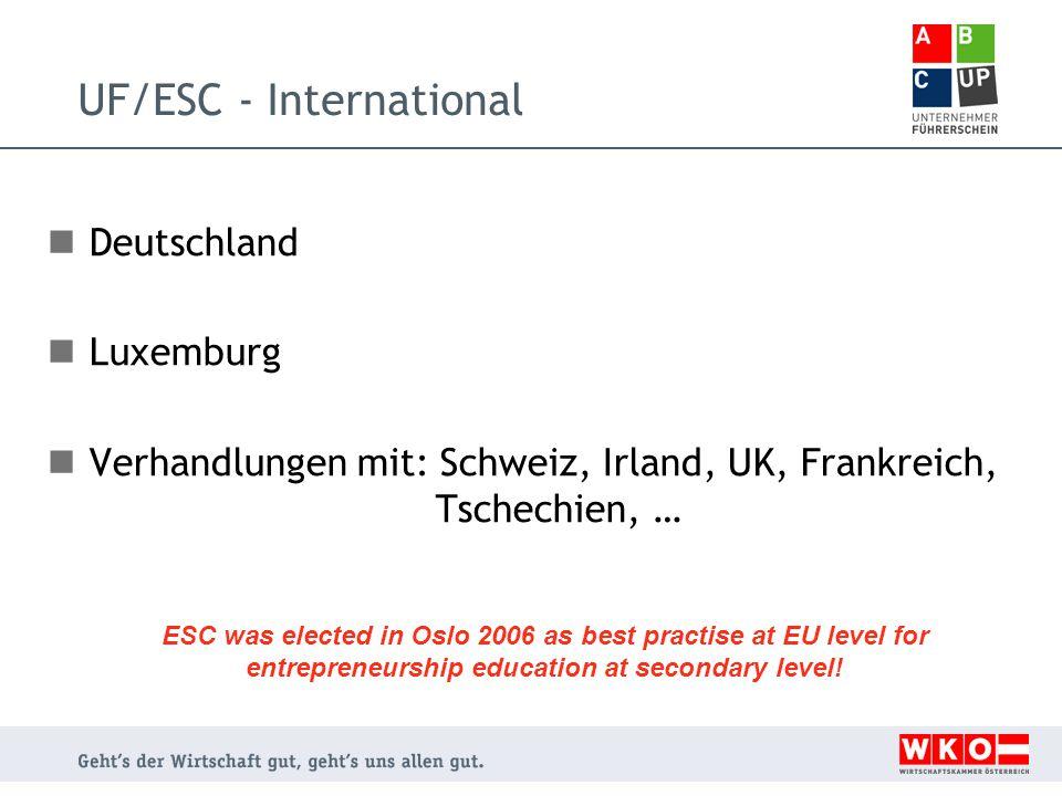UF/ESC - International Deutschland Luxemburg Verhandlungen mit: Schweiz, Irland, UK, Frankreich, Tschechien, … ESC was elected in Oslo 2006 as best practise at EU level for entrepreneurship education at secondary level!