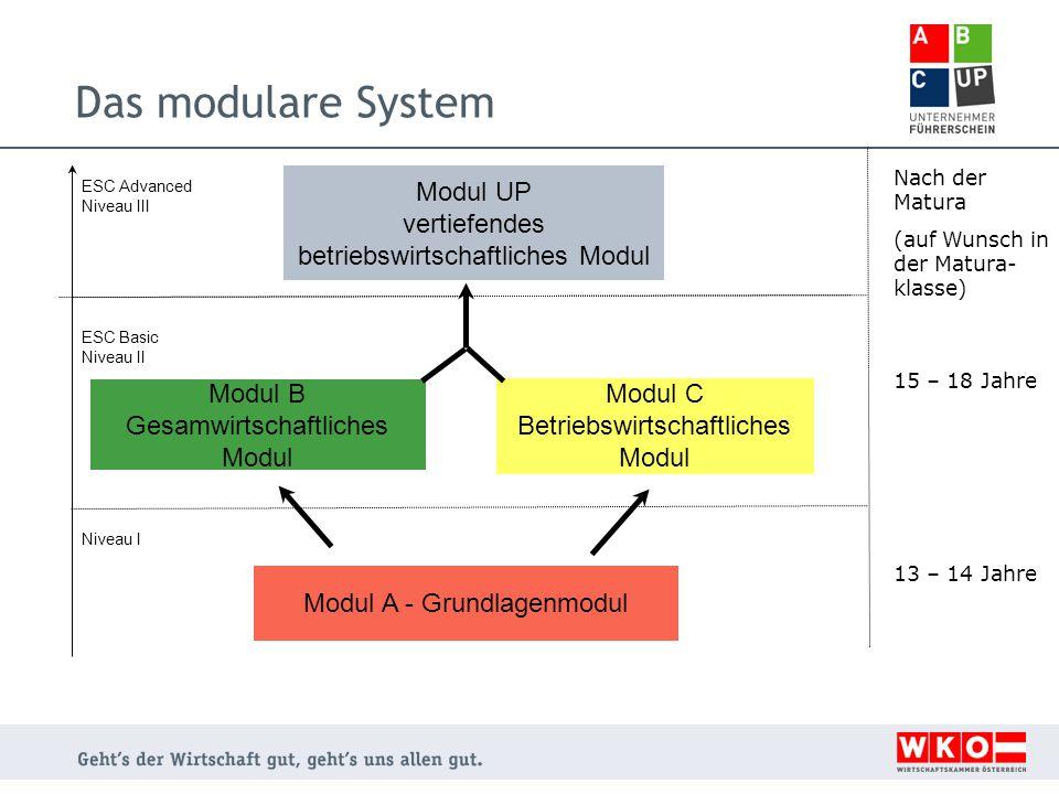 Das modulare System Modul A - Grundlagenmodul Modul C Betriebswirtschaftliches Modul Modul B Gesamwirtschaftliches Modul Modul UP vertiefendes betriebswirtschaftliches Modul Niveau I ESC Basic Niveau II ESC Advanced Niveau III Nach der Matura (auf Wunsch in der Matura- klasse) 15 – 18 Jahre 13 – 14 Jahre