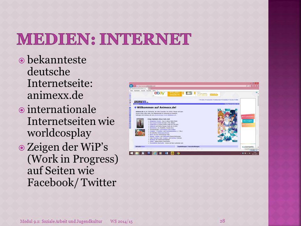  bekannteste deutsche Internetseite: animexx.de  internationale Internetseiten wie worldcosplay  Zeigen der WiP's (Work in Progress) auf Seiten wie
