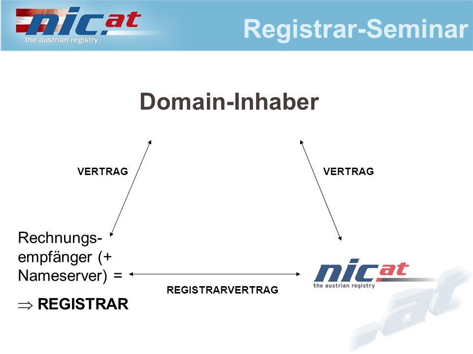 Registrar-Seminar Domain-Inhaber VERTRAG Rechnungs- empfänger (+ Nameserver) =  REGISTRAR VERTRAG REGISTRARVERTRAG