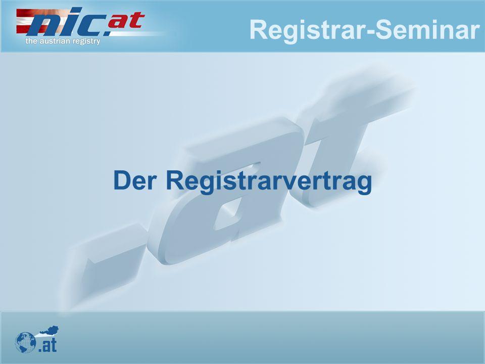 Registrar-Seminar Der Registrarvertrag