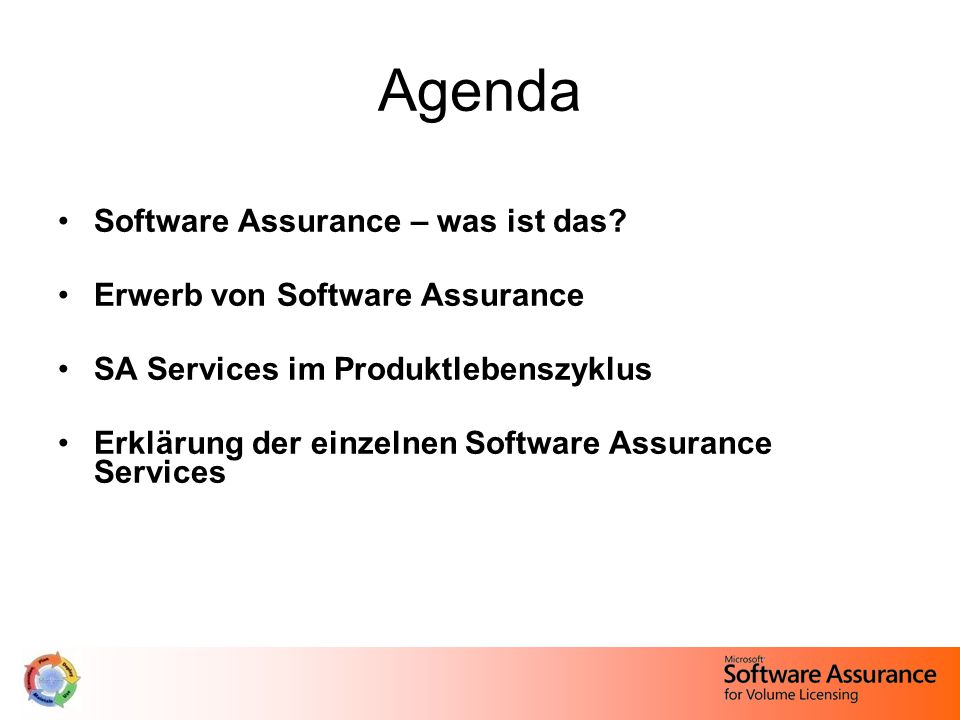 Agenda Software Assurance – was ist das.