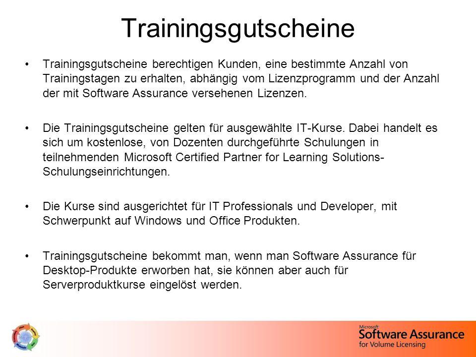 Trainingsgutscheine Trainingsgutscheine berechtigen Kunden, eine bestimmte Anzahl von Trainingstagen zu erhalten, abhängig vom Lizenzprogramm und der Anzahl der mit Software Assurance versehenen Lizenzen.