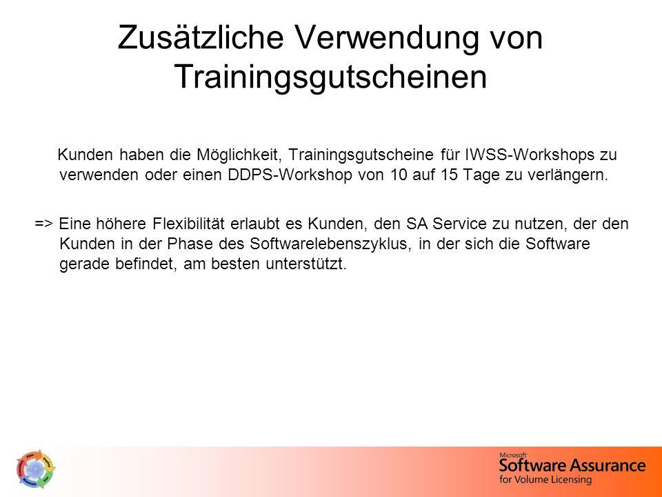 Zusätzliche Verwendung von Trainingsgutscheinen Kunden haben die Möglichkeit, Trainingsgutscheine für IWSS-Workshops zu verwenden oder einen DDPS-Workshop von 10 auf 15 Tage zu verlängern.