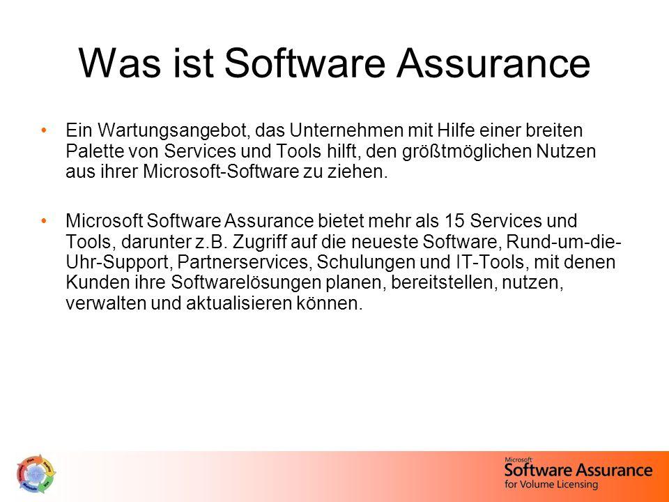 Was ist Software Assurance Ein Wartungsangebot, das Unternehmen mit Hilfe einer breiten Palette von Services und Tools hilft, den größtmöglichen Nutzen aus ihrer Microsoft-Software zu ziehen.
