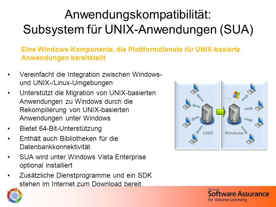 Vereinfacht die Integration zwischen Windows- und UNIX-/Linux-Umgebungen Unterstützt die Migration von UNIX-basierten Anwendungen zu Windows durch die Rekompilierung von UNIX-basierten Anwendungen unter Windows Bietet 64-Bit-Unterstützung Enthält auch Bibliotheken für die Datenbankkonnektivität SUA wird unter Windows Vista Enterprise optional installiert Zusätzliche Dienstprogramme und ein SDK stehen im Internet zum Download bereit Anwendungskompatibilität: Subsystem für UNIX-Anwendungen (SUA) UNIXWindows Eine Windows-Komponente, die Plattformdienste für UNIX-basierte Anwendungen bereitstellt