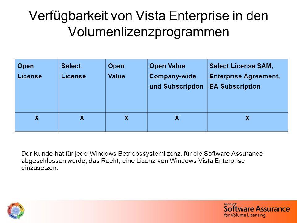 Verfügbarkeit von Vista Enterprise in den Volumenlizenzprogrammen Der Kunde hat für jede Windows Betriebssystemlizenz, für die Software Assurance abgeschlossen wurde, das Recht, eine Lizenz von Windows Vista Enterprise einzusetzen.